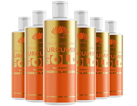 Curcumin GOLD 225ml x6 - SAVE 20% - by PuraTHRIVE - Ginger Oil and DHA